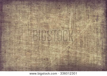 Beige Sackcloth A Burlap Fabric Scratchy Obsolete Empty Blank Background