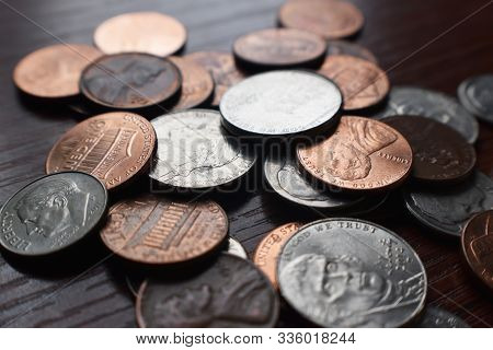 Pennies, Dimes & Nickels Close Up High Quality