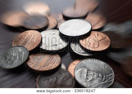 Pennies, Nickels & Dimes With Zoom Burst High Quality