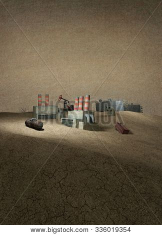 3d Illustration. Dying Industry. Old Factories, Oil Storage, Oil Pumps, Wagons In The Desert. Post-a