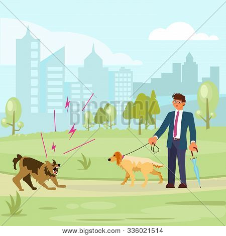 Man Walks With A Dog In The Park, A Huge Aggressive Mongrel Attacks. Bad Luck And Stressful Situatio