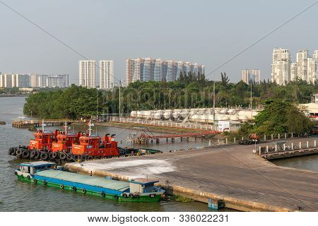 Ho Chi Minh City, Vietnam - March 13, 2019: Vict Port On Song Sai Gon River At Sunset. 3 Idle Red Tu