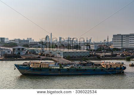 Ho Chi Minh City, Vietnam - March 13, 2019: Song Sai Gon River At Sunset. Blue Hoang Long 01 River T