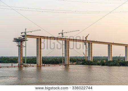 Phuoc Khanh, Vietnam - March 13, 2019: Long Tau River At Sunset. Western On-ramp Of Phuoc Khanh Susp