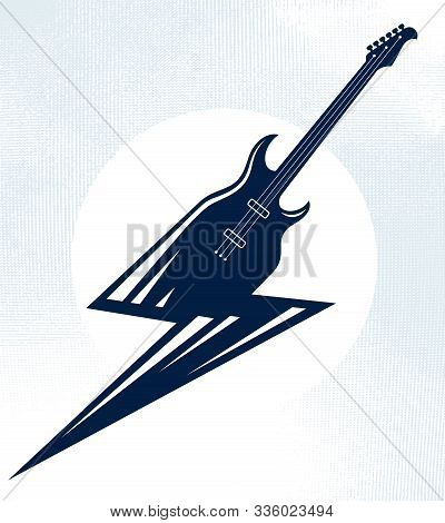 Electric Guitar In A Shape Of Lightning, Hot Rock Music, Hard Rock Or Rock And Roll Concert Or Festi