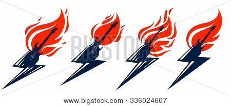 Electric Guitar In A Shape Of Lightning On Fire, Hot Rock Music In Flames, Hard Rock Or Rock And Rol