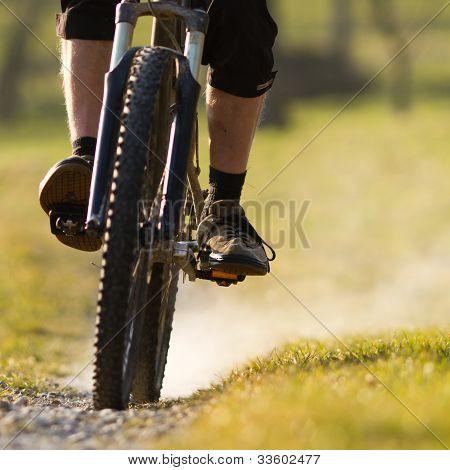 cycling on a mountain bike
