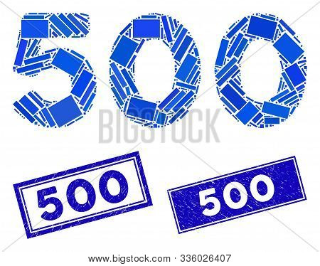 Mosaic 500 Digits Text Pictogram And Rectangular 500 Seal Stamps. Flat Vector 500 Digits Text Mosaic