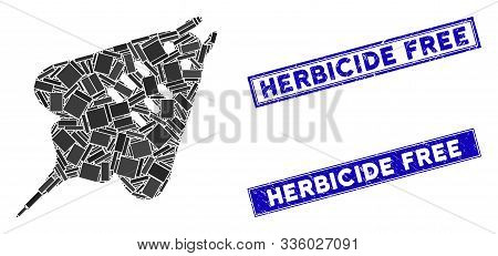 Mosaic Stingray Fish Pictogram And Rectangular Herbicide Free Stamps. Flat Vector Stingray Fish Mosa