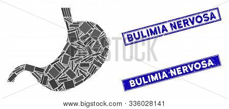 Mosaic Stomach Pictogram And Rectangle Bulimia Nervosa Rubber Prints. Flat Vector Stomach Mosaic Pic