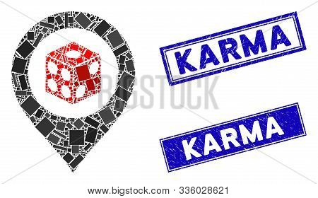 Mosaic Dice Map Pointer Pictogram And Rectangle Karma Seals. Flat Vector Dice Map Pointer Mosaic Pic
