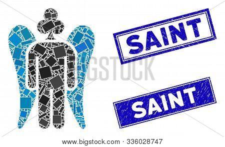 Mosaic Gambling Angel Pictogram And Rectangular Saint Seals. Flat Vector Gambling Angel Mosaic Picto