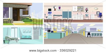 Hospital Flat Vector Illustration Set. Hospital Inside With Reception, Doctors Office, Ward. City In