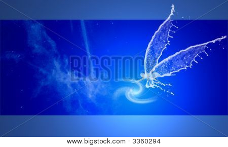 nebula spiral on deep blue space white angel touch shimmer poster