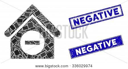 Mosaic Deduct Building Pictogram And Rectangle Negative Seal Stamps. Flat Vector Deduct Building Mos
