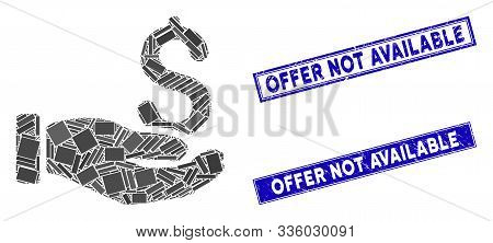 Mosaic Earnings Hand Icon And Rectangular Offer Not Available Seal Stamps. Flat Vector Earnings Hand