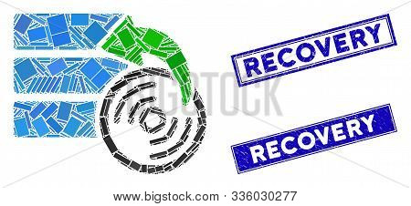 Mosaic Restore Database Pictogram And Rectangle Recovery Seals. Flat Vector Restore Database Mosaic