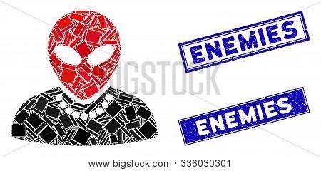 Mosaic Humanoid Pictogram And Rectangle Enemies Watermarks. Flat Vector Humanoid Mosaic Pictogram Of