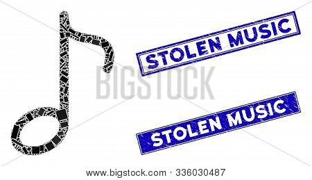 Mosaic Music Note Icon And Rectangular Stolen Music Seals. Flat Vector Music Note Mosaic Icon Of Ran