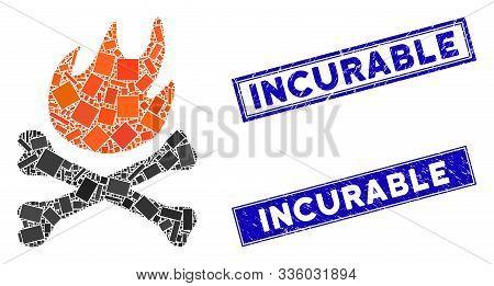 Mosaic Bones Hell Fire Pictogram And Rectangular Incurable Rubber Prints. Flat Vector Bones Hell Fir