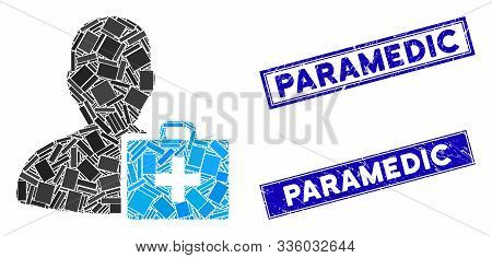 Mosaic Paramedic Pictogram And Rectangle Paramedic Rubber Prints. Flat Vector Paramedic Mosaic Picto