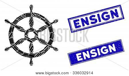 Mosaic Ship Wheel Icon And Rectangle Ensign Seal Stamps. Flat Vector Ship Wheel Mosaic Icon Of Scatt