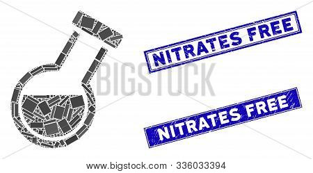 Mosaic Retort Icon And Rectangle Nitrates Free Seal Stamps. Flat Vector Retort Mosaic Icon Of Random