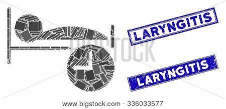 Mosaic Sleep Time Pictogram And Rectangle Laryngitis Seal Stamps. Flat Vector Sleep Time Mosaic Pict
