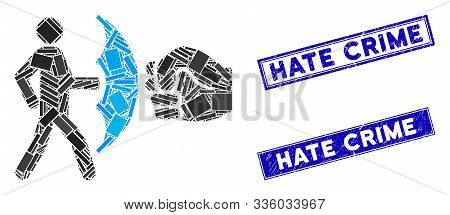 Mosaic Crime Protection Icon And Rectangle Hate Crime Stamps. Flat Vector Crime Protection Mosaic Ic
