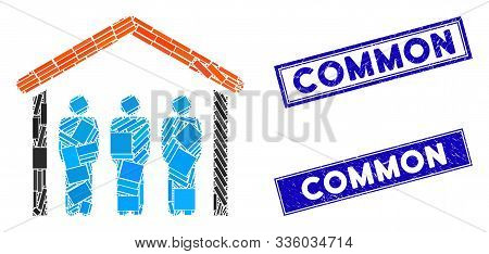 Mosaic People Under Roof Icon And Rectangle Common Stamps. Flat Vector People Under Roof Mosaic Icon