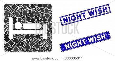 Mosaic Motel Bed Icon And Rectangular Night Wish Seal Stamps. Flat Vector Motel Bed Mosaic Pictogram