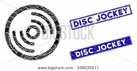 Mosaic Disc Icon And Rectangle Disc Jockey Rubber Prints. Flat Vector Disc Mosaic Pictogram Of Scatt