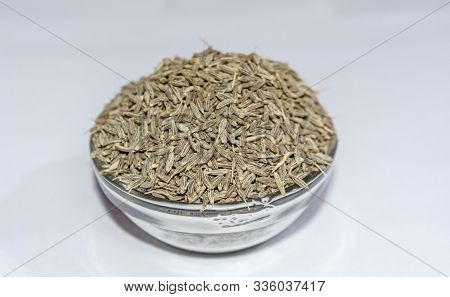 Cumin Seeds (jeera) Also Know As Caraway, Isolated On White Background.