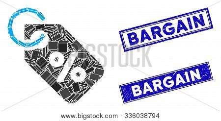 Mosaic Discount Tag Pictogram And Rectangle Bargain Stamps. Flat Vector Discount Tag Mosaic Pictogra