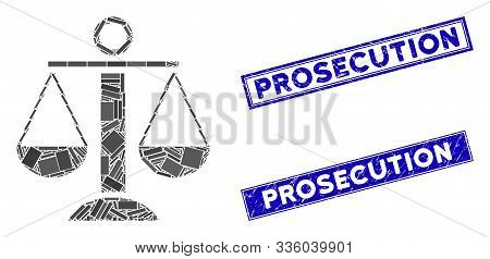 Mosaic Scales Balance Icon And Rectangular Prosecution Seal Stamps. Flat Vector Scales Balance Mosai