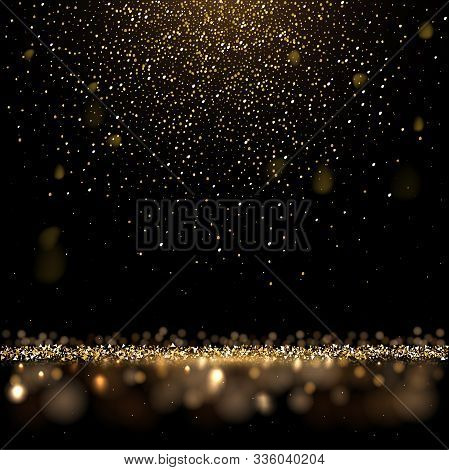 Gold Glitter And Shiny Golden Rain On Black Background. Vector Square Luxury Background