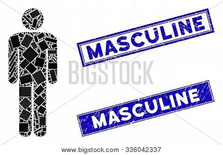 Mosaic Man Icon And Rectangle Masculine Stamps. Flat Vector Man Mosaic Icon Of Randomized Rotated Re