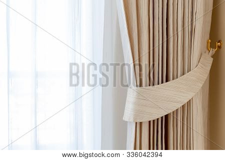 Curtain Interior Decoration In Room. White Curtain.beautiful Curtains In Room.