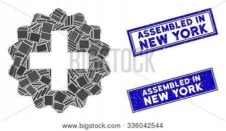 Mosaic Create Icon And Rectangular Assembled In New York Seal Stamps. Flat Vector Create Mosaic Icon