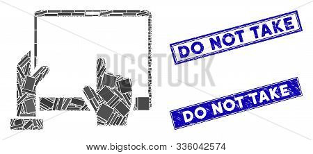 Mosaic Hand Points Pda Pictogram And Rectangle Do Not Take Seal Stamps. Flat Vector Hand Points Pda