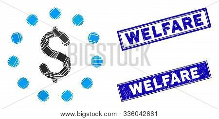 Mosaic Dollar Sign Icon And Rectangle Welfare Rubber Prints. Flat Vector Dollar Sign Mosaic Icon Of
