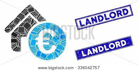 Mosaic Euro Home Rent Icon And Rectangular Landlord Watermarks. Flat Vector Euro Home Rent Mosaic Ic