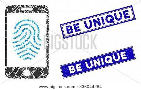 Mosaic Mobile Fingerprint Authorization Pictogram And Rectangular Be Unique Seal Stamps. Flat Vector