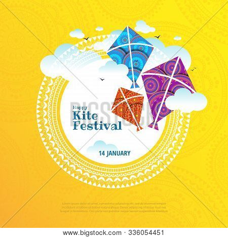 Vector Illustration On The Theme Of Kite String Festival Of India