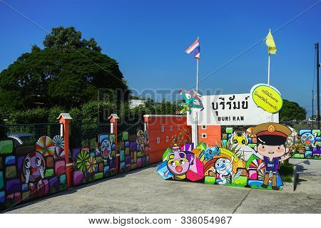 Buri Ram, Thailand - October 11, 2019: Colorful Board For Travel Promoted In Buri Ram Train Station,
