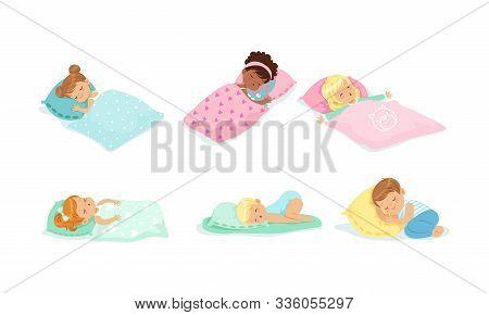 Little Children Sleeping Covered With Blanket Vector Set
