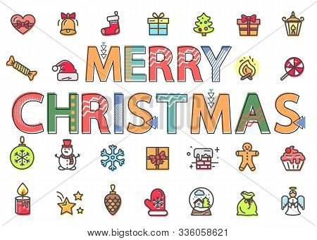 Merry Christmas Symbols And Icons Set Vector. Isolated New Year Signs, Presents And Gifts On Holiday