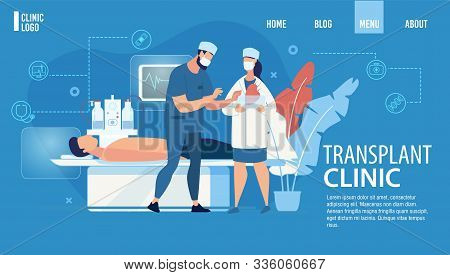 Landing Page Advertising Transplant Clinic Service. Human Organs Transplantation Hospital. Patient L