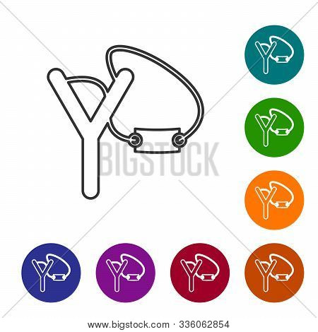 Grey Line Slingshot Icon Isolated On White Background. Set Icons In Color Circle Buttons. Vector Ill