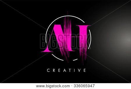 Pink Ah Brush Stroke Letter Logo Design. Pink Paint Logo Leters Icon With Elegant Circle Vector Desi